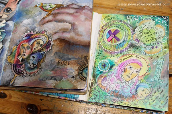 Old and new art journals by Paivi Eerola of Peony and Parakeet.