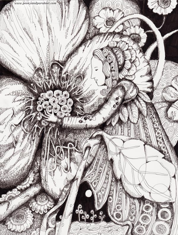 Black and white fairy drawing by Paivi Eerola of Peony and Parakeet. See how this changes when a hand-drawn frame is added to it!