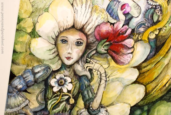 Flower fairies, a detail of an illustration by Paivi Eerola. Play with the scale. Draw huge flowers and small fairies!