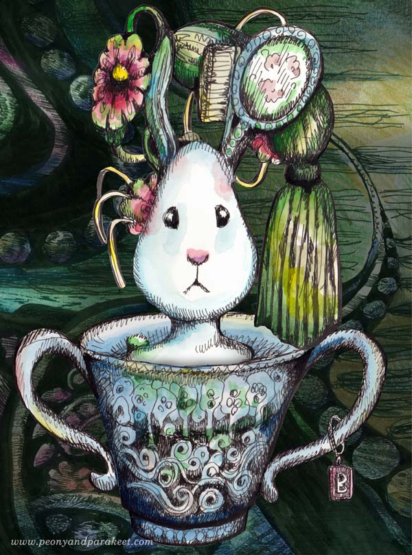 Magical Bunny. Illustration by Paivi Eerola, Finland.
