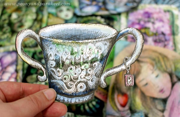 Drawing collage pieces. A hand-drawn teacup by Paivi Eerola of Peony and Parakeet.
