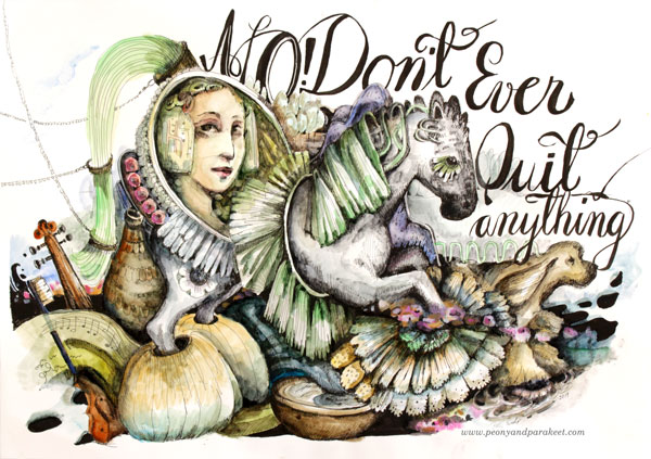"""No! Don't Ever Quit Anything"" Mixed media illustration by Paivi Eerola of Peonu and Parakeet."