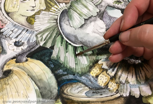 Making an illustration. Painting with watercolors. By Paivi Eerola of Peony and Parakeet.