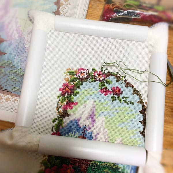 Decorative frame in a crosstitch project.