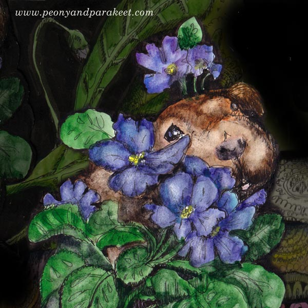 Guinea pig and African violet. Illustration by Paivi Eerola of Peony and Parakeet.