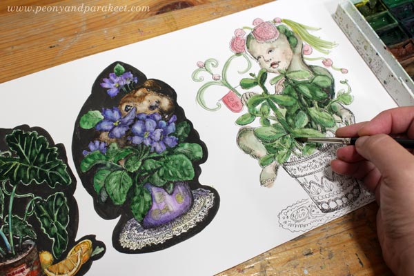Coloring collage elements with watercolors. By Paivi Eerola of Peony and parakeet.