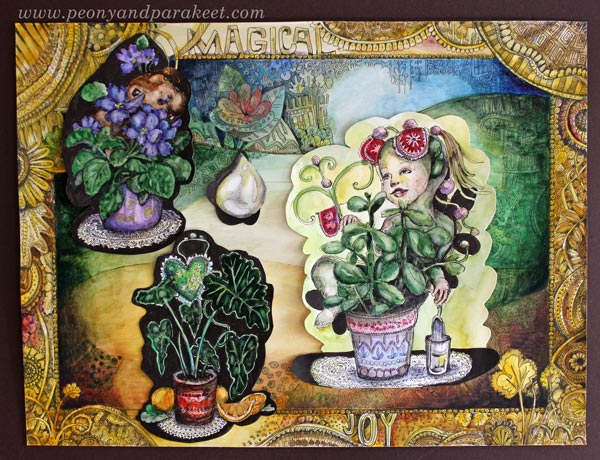 Drawing backgrounds and collage elements. By Paivi Eerola of Peony and Parakeet.