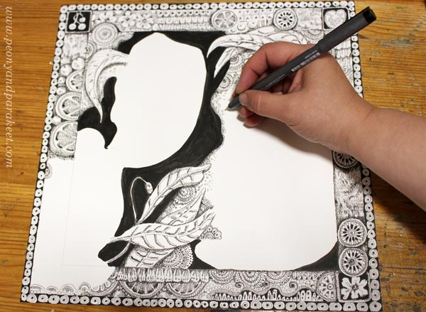 Drawing backgrounds for collage art. By Paivi Eerola of Peony and Parakeet.