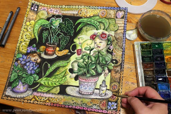 Coloring an illustration with watercolors. By Paivi Eerola of Peony and Parakeet.