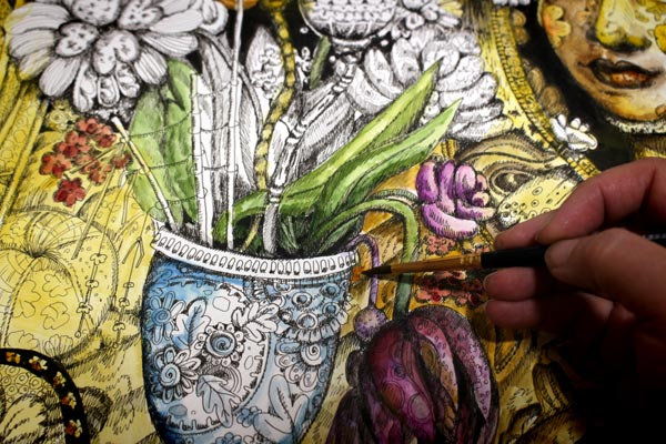 Coloring an ink drawing with watercolors by Paivi Eerola of Peony and Parakeet.