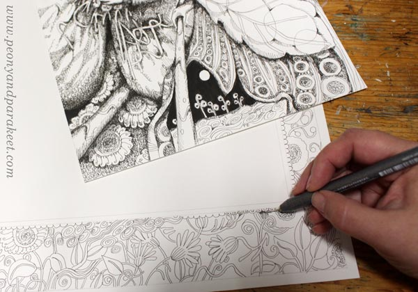 Making a hand-drawn frame by Paivi Eerola of Peony and Parakeet.