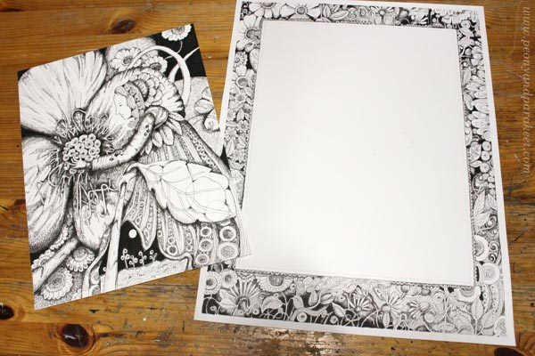 An illustration and a hand-drawn frame for it. By Paivi Eerola of Peony and Parakeet.