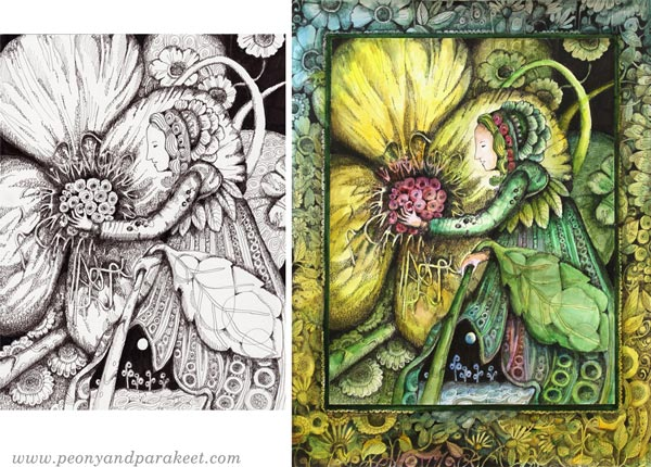 Two versions of the same drawing. The other one has color and a decorative hand-drawn frame. By Paivi Eerola of Peony and Parakeet.