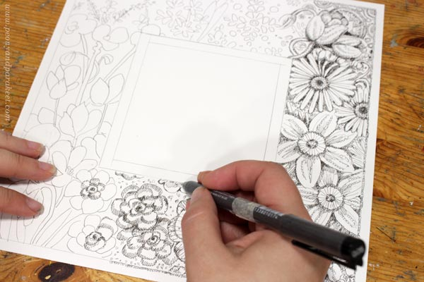 Drawing a decorative illustration. By Paivi Eerola of Peony and Parakeet.
