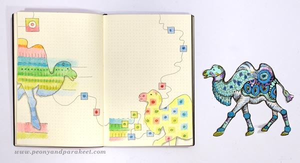 Illustrations by Paivi Eerola of Peony and Parakeet. Bullet journal art.