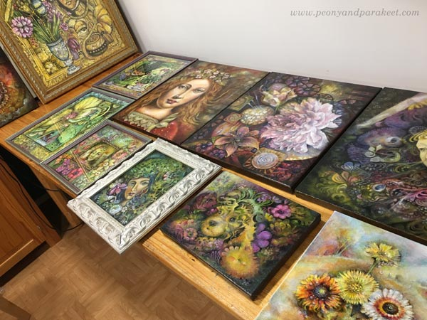 Paintings ready for an art exhibition. By Paivi Eerola of Peony and Parakeet.