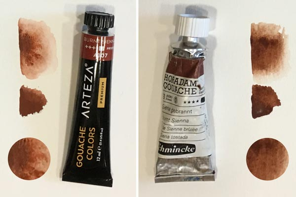 Comparison of Arteza gouache and Schminke Horadam gouache paints.