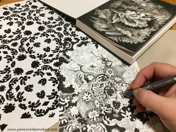 One of the many black and white art techniques: Drawing a pattern, and making an image from it. By Paivi Eerola from Peony and Parakeet.