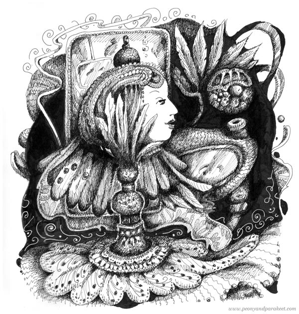 Inktober 2019, Mindless. Art by Paivi Eerola of Peony and Parakeet. See more black and white art techniques in the blog post!