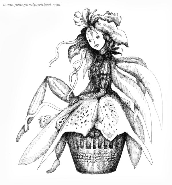 Overgrown flower fairy. Illustration by Paivi Eerola of Peony and Parakeet.