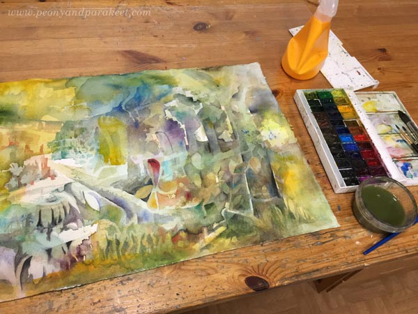 A fantasy forest in progress. A watercolor painting by Paivi Eerola of Peony and Parakeet.