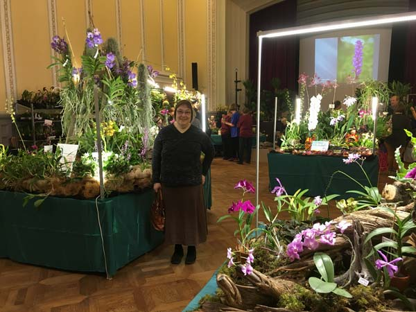 Finnish artist Paivi Eerola at an orchid show.
