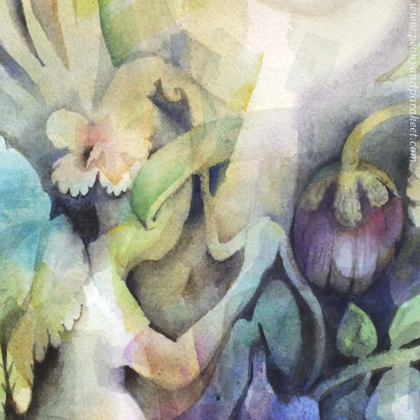 "A detail of a watercolor painting called ""Ujokki / Shyeling"" by Paivi Eerola of Peony and Parakeet."