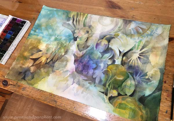 A watercolor painting in progress. By Paivi Eerola, a Finnish watercolor artist. See the blog post to see this one finished!