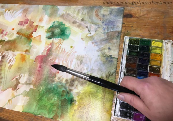 Creating intuitive art. Splashing paint and painting freely with watercolors. By Paivi Eerola of Peony and Parakeet.