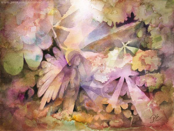 """Valomio"", a watercolor painting by Paivi Eerola of Peony and Parakeet. Buy her class Magical Forest to learn to paint imaginary people like this little fairy!"