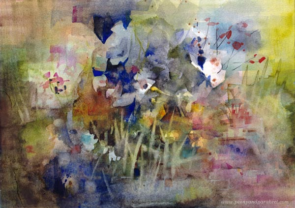 Cobalt Blue Spectral, a watercolor study by Paivi Eerola of Peony and Parakeet.