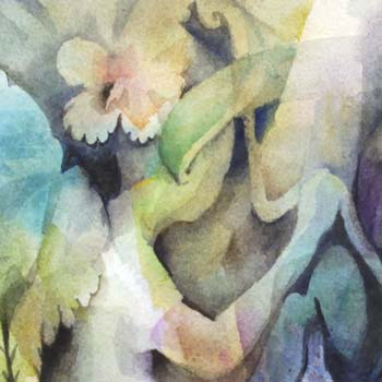 A watercolor fairy by Paivi Eerola of Peony and Parakeet.