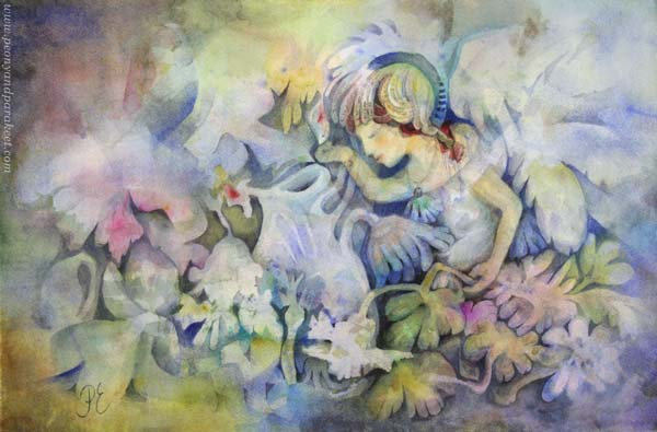 """Mirimer"" - a watercolor painting by Paivi Eerola of Peony and Parakeet. Read about painting imaginary people and finding their soul."