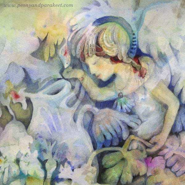 "A detail of ""Mirimer"" - a watercolor fairy painting by Paivi Eerola of Peony and Parakeet. Read about how to paint imaginary people and their soul."