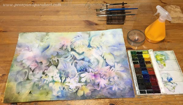 Watercolor painting in progress. By Paivi Eerola of Peony and Parakeet.