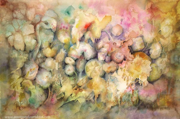 Splashpompom - a watercolor painting by Paivi Eerola