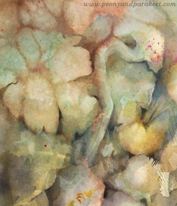 A detail of a watercolor painting by Paivi Eerola.