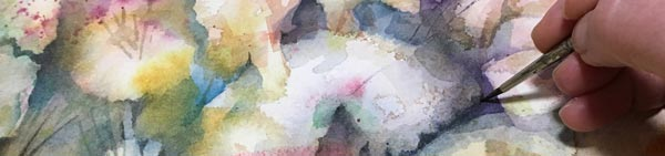 Painting abstract flowers in watercolor. By Paivi Eerola of Peony and Parakeet.