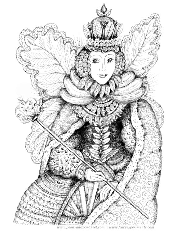 Fairy Queen, an illustration for the book Fairy Experiments for Thinkers and Tinkerers, author C.L. Hunt, illustrator Paivi Eerola.