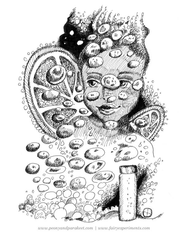 An illustration for the book Fairy Experiments for Thinkers and Tinkerers, author C.L. Hunt, illustrator Paivi Eerola.