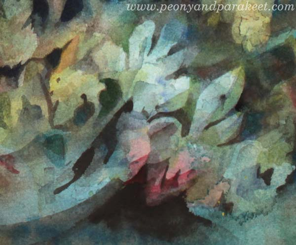 A detail of Icebreaker, a watercolor painting by Paivi Eerola of Peony and Parakeet.