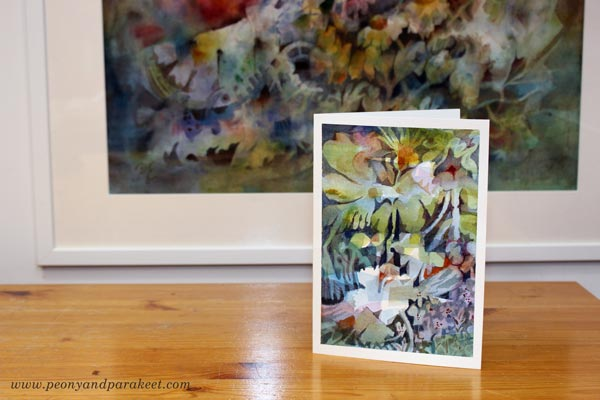 Expressive watercolor card - free video tutorial by Paivi Eerola of Peony and Parakeet