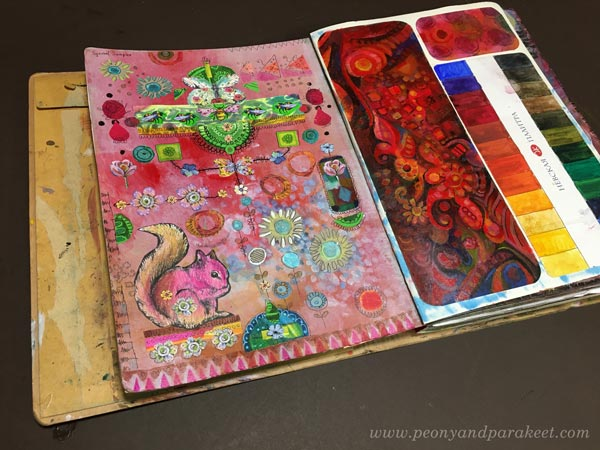 Art journal page spread by Paivi Eerola of Peony and Parakeet. Read how to create hand-drawn collage samplers!