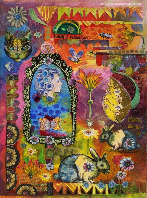 Rabbit Feeders by Paivi Eerola of Peony and Parakeet. Read how to create hand-drawn collage samplers!
