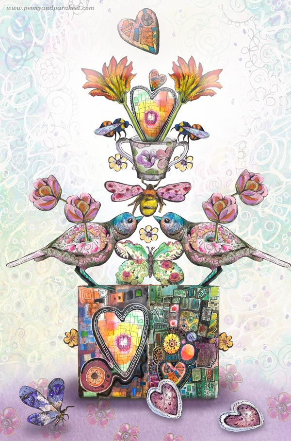 Happy Valentine's Day by Paivi Eerola of Peony and Parakeet. Hand-drawn collage art composed digitally.