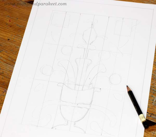 Making a symmetrical drawing with the help of a grid. By Paivi Eerola of Peony and Parakeet.