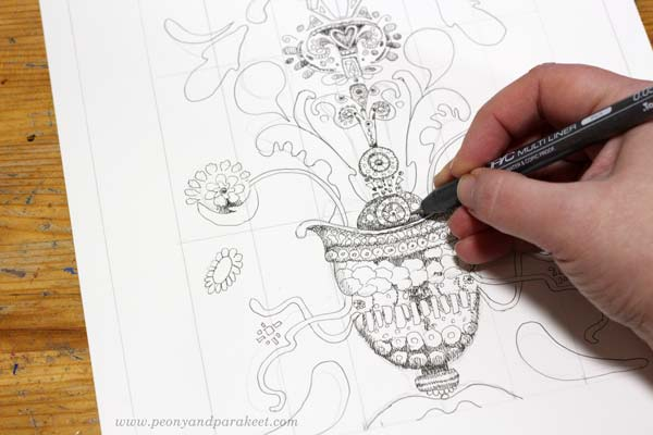 Drawing ornaments for a doodler's sampler. By Paivi Eerola of Peony and Parakeet.