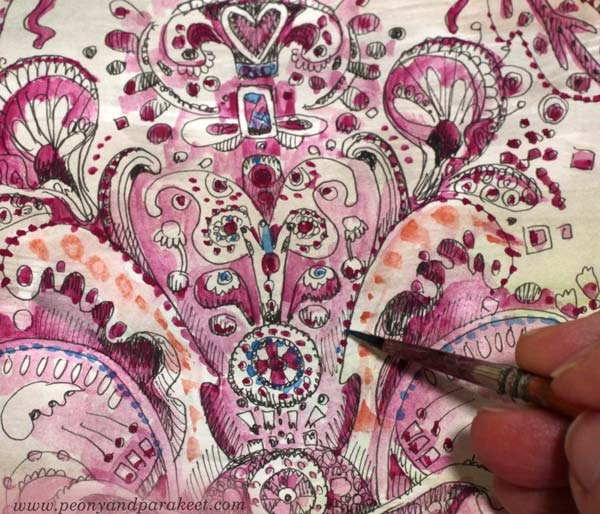 Watercolors and doodling. By Paivi Eerola of Peony and Parakeet.