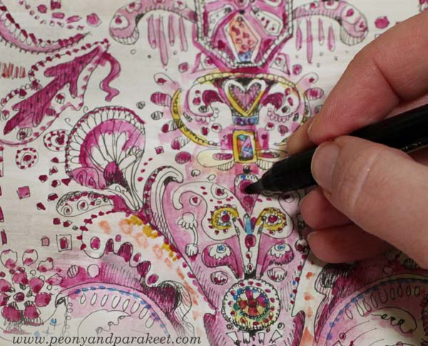 Coloring the doodles with watercolors. Doodler's sampler by Paivi Eerola of Peony and Parakeet.