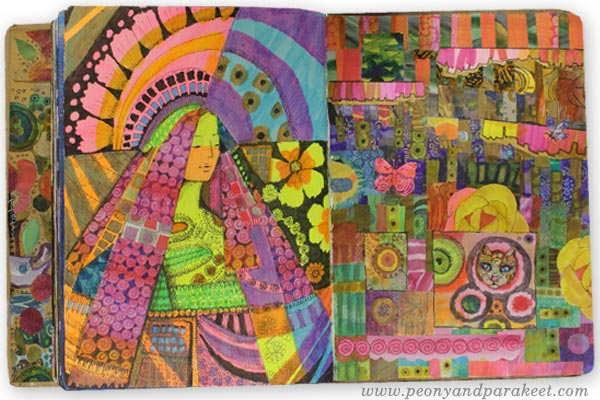 Art journal spread using neon markers by Paivi Eerola. Watch her art journal flip-through to see more inspiring pages!